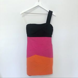 ❄️ Ruby Rox Color Block One Shoulder Bodycon Dress